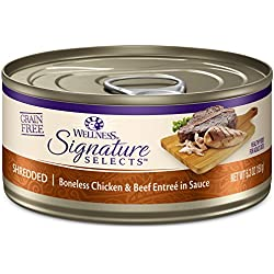 Wellness Core Signature Selects Grain Free Wet Canned Cat Food, Shredded Chicken & Beef, 5.3-Ounce (Pack Of 12)