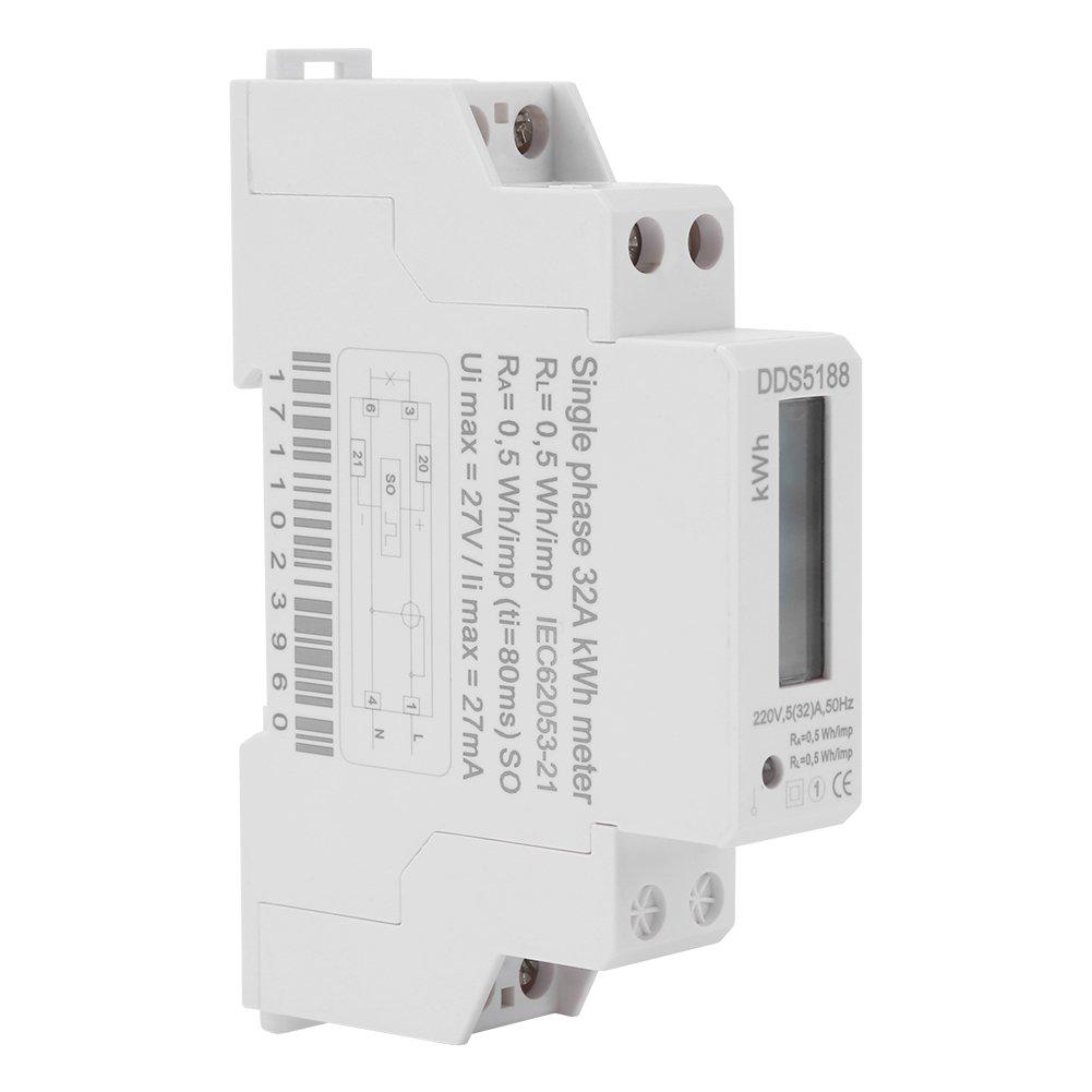 Walfront 220V DDS5188 LCD Digitaler DIN Schienen Strom Z/ähler f/ür Kilowattstunden KWH Z/ähler 5-30A