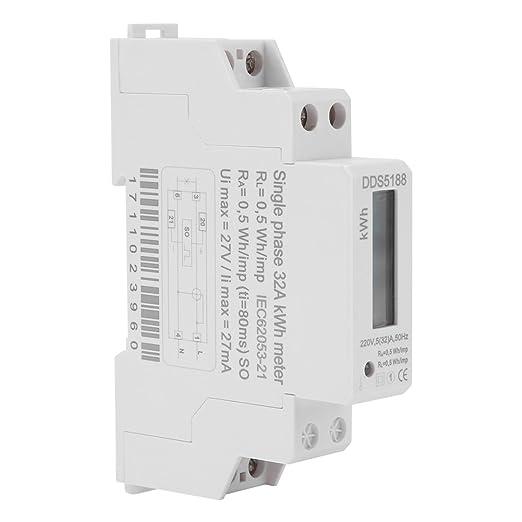 Nrpfell LCD Monophas/é Consommation Electrique du Wattm/ètre R/étro-Eclair/é Compteur d/énergie en Watts kWh AC 5-32A 230V 50Hz 110V 60Hz /électrique DIN Montage sur Rail