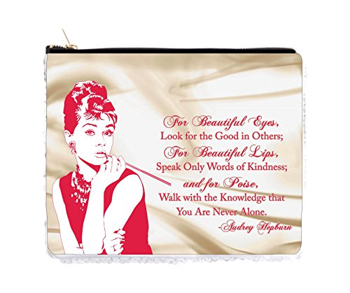 (Audrey Hepburn Makeup Quote in Pink and Satin Print - 2 Sided 6.5