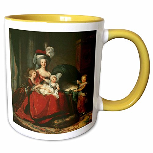 3dRose BLN Paintings of Children Fine Art Collection - Marie-Antoinette Her Children, 1787 by Elisabeth-Louise Vigee-Lebrun - 15oz Two-Tone Yellow Mug (mug_169808_13)