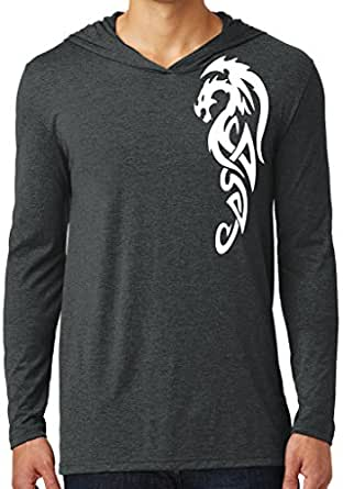 Mens WHITE TRIBAL DRAGON Hoodie Tee, Extra Small - Black Frost (shoulder print)