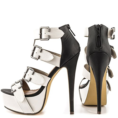 Kolnoo Damen Vier Schnallen Deko Mode Schuh Absatz Plattform Partei Kleid Peep-toe Sandalen Black