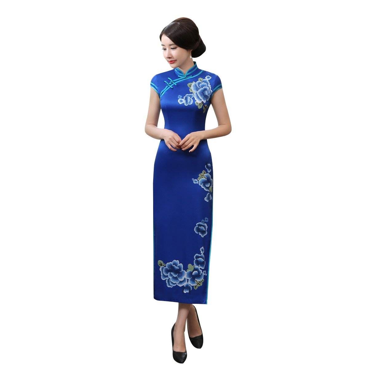 ACVIP Women Stand Collar Vintage Floral Maxi Chinese Qipao Cheongsam Dress Split (China 2XL/Bust:38.6'', Blue)