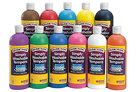 Colorations Simply Washable Tempera Paint - 16 oz., Set of 11 Colors (Item