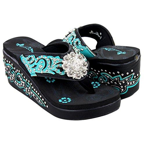 Montana West Women's Hand Beaded Flip Flop Sandals (7B(M), - Rainbow Sandals Crystal