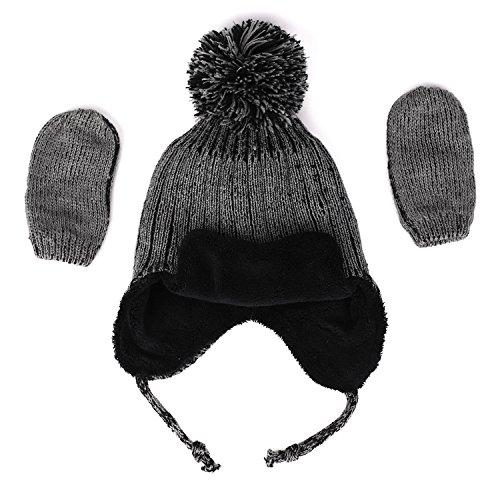 Hat Cap Beanie Gloves - Flammi Unisex Baby/Little Kids Winter Hat Mittens Set Fleece-Lined Knit Earflap Hat With Pompom (6-12 Months)