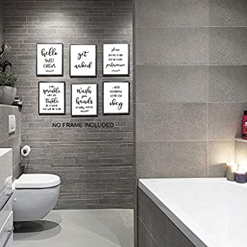 Bathroom Wall Decor Bathroom Wall Art Bathroom Quotes Signs Rules Decorations Bathroom Pictures Wall Decor Bathroom Decor Set Of 6 8x10in Unframed Buy Online At Best Price In Uae Amazon Ae