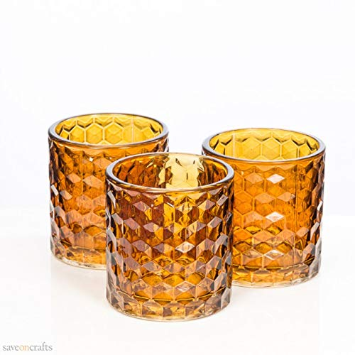 Amber Chunky Honeycomb Glass Votive & Tealight Holder Set of