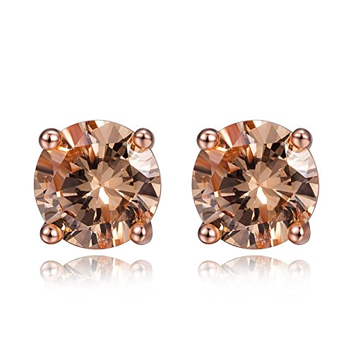 MDFUN 18K Rose Gold Plated Yellow Cubic Zirconia Eternity Stud Earring