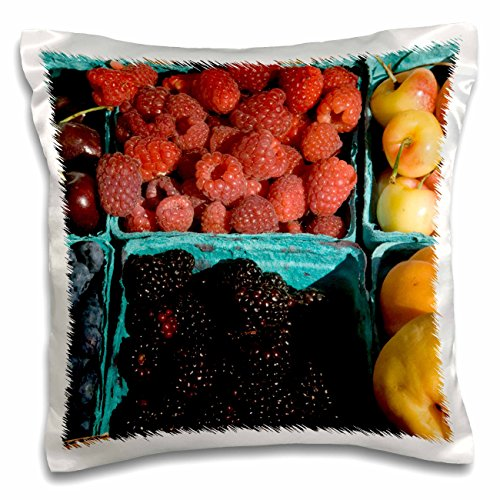 Danita Delimont - Markets - Oregon, Portland, Farmers market Berries - US38 AJN0025 - Alison Jones - 16x16 inch Pillow Case (pc_93404_1)