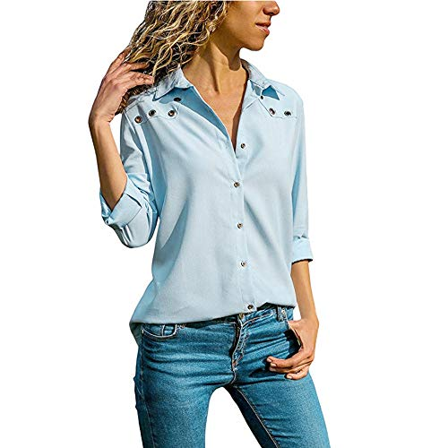 Ulanda Womens V-Neck Button Down Long Sleeves Plus Size Tops Loose Blouse Pure Color Plus Size by Ulanda