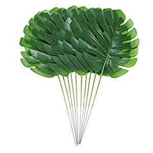 Artificial Palm Leaves with Stem and Tropical Philodendron Monstera Fronds Party Decorations Faux Palm Tree Plant Leaf Fake Imitation Ferns Branches Home Kitchen Plastic Decor 20 Pieces AF49 3