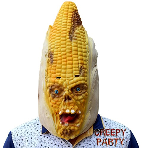 CreepyParty Deluxe Novelty Halloween Costume Party Latex Vegetables Head Corn Mask]()