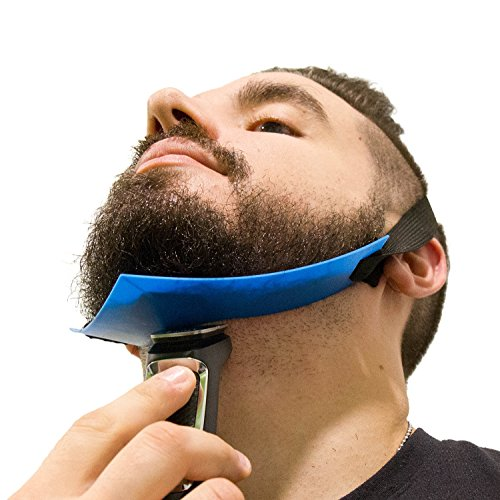 Aberlite Beard Shaper - FlexShaper Neckline Guide - Hands-Free & Flexible - The Ultimate Neckline Beard Shaping Template (Patent Pending)(Blue) - Beard Trimmer Guide - Lineup Stencil Kit