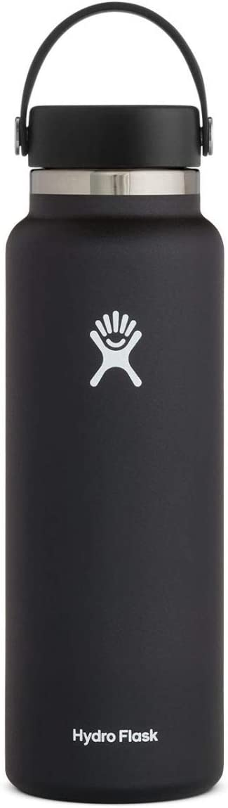 Hydro Flask Water Bottle - Stainless Steel & Vacuum Insulated - Wide Mouth 2.0 with Leak Proof Flex Cap - 40 oz, Black