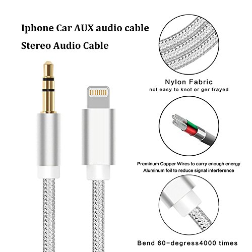 Lightning to Aux Cable, Nikipa 3FT Nylon Braided Lightning to 3.5 mm Male Aux Stereo Audio Cable for iPhone X/8/8 Plus/7/7 Plus by Keklle (Image #2)