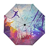 ALAZA Abstract Parkour Painting Travel Umbrella Auto Open Close UV Protection Windproof Lightweight Umbrella