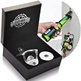 magnetic beer can opener - Bottle Opener Wall Mounted with Magnetic Cap Catcher - Stainless Steel - by CAPLORD, Easy to Mount + Comes Gift Ready for Beer Lovers, Excellent Birthday & Anniversary Gifts for Men