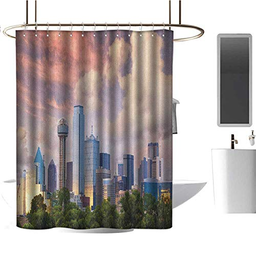 Qenuan Hotel Grade Shower Curtain United States,Dallas City Skyline at Sunset Clouds Texas Highrise Skyscrapers Landmark, Multicolor,Washable, Eco-Friendly,for Bathroom Curtain 54