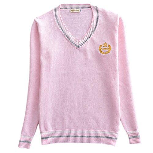 Ai v cuello moichien Knit en con Manga School Su larga Sweater Girls qOFwgqp