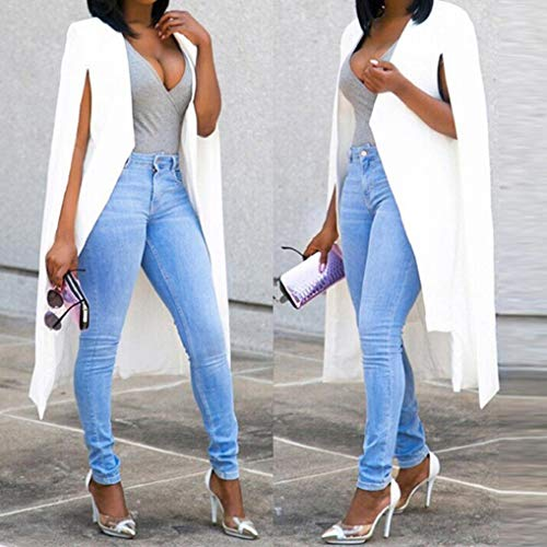 Ouvert Femmes Manches À Poncho Pour Veste Blanc Blazer Fnkdor Cape Élégant Longues De Cardigan Manteau Chic wvEF5X