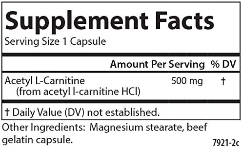 Carlson – Acetyl L-Carnitine, 500 mg, Cognitive Health, Brain Function Energy Production, 120 Capsules