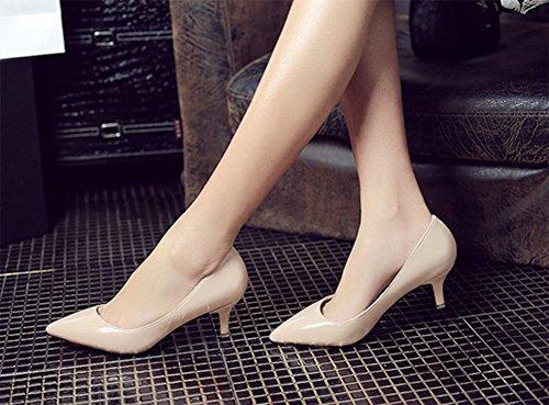 CHFSO Womens Fashion Patent Leather Low Cut Dorsay Pumps Dress Shoes Apricot 2Az71v