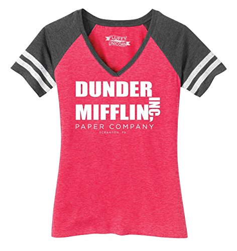 Ladies Game V-Neck Tee Dunder Mifflin A Paper Company Funny TV Show Shirt Heathered Watermelon/Heathered Charcoal M ()