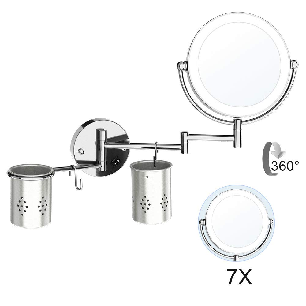 ElectriBrite 7x Magnification Mirror Double Sided Swivel bathroom Led Makeup Mirror 8 Inch Round Shaped Wall Mount Lighted Vanity Mirror - Extendable Bathroom Mirror, Shaving in Bedroom, Chrome Finish