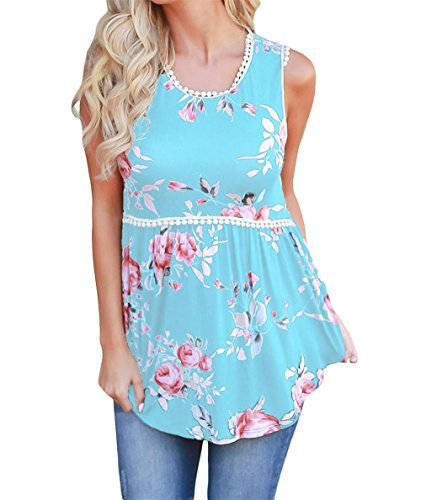 Women Stylish Floral Print Pompom Lace Trim Sleeveless Flowy Tank Top Ruched Babydoll Top Summer Casual Blouse
