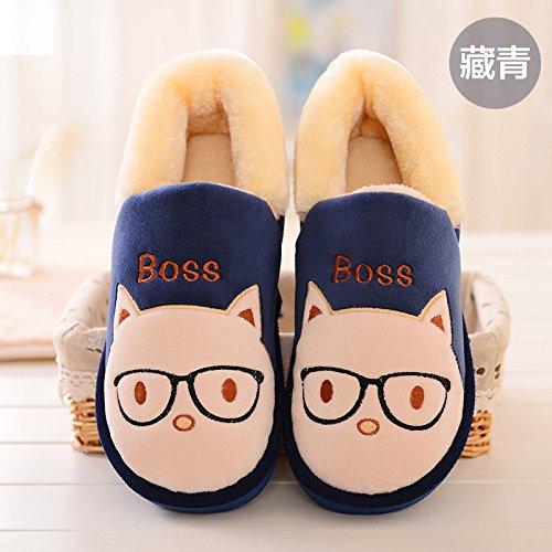 y-hui L inverno el algodón acolchado hembra zapatos addensata con plantillas gruesas Gli amanti la calzatura Home un cálido zapatillas, Thirty-Nine, Tibet Marino
