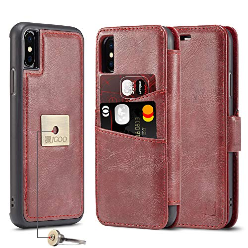 JGOO iPhone Xs Max 6.5 inch Case with Ring, Luxury 3 in 1 Folio Flip Leather Wallet Case Magnetic Detachable Protective Kickstand Hard Thin Case with Card Holder [Support Magnetic Car Mount], Red