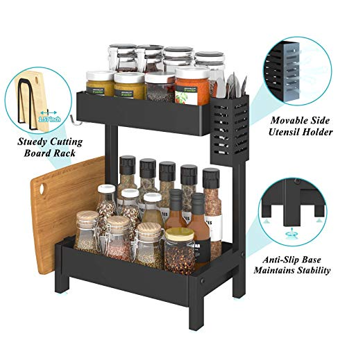 Apsan 2-Tier Spice Racks for Kitchen Counter, Spice Rack Organizer for Countertop with Utensil Holder, Spice Holder for Pantry Bathroom,Black