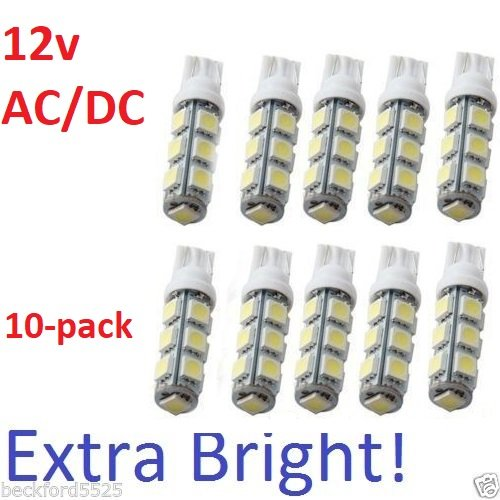 Sago® 10 Pack, Wedge T10-T5 1w Bulb 360deg LED Extra bright for Malibu 12v Dc Landscape Light-13 SMD- pure White