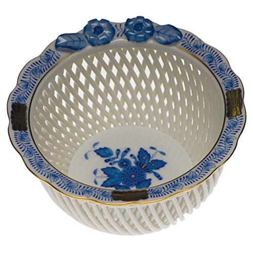 Herend Chinese Bouquet Blue Open Weave (Blue Porcelain Bouquet)
