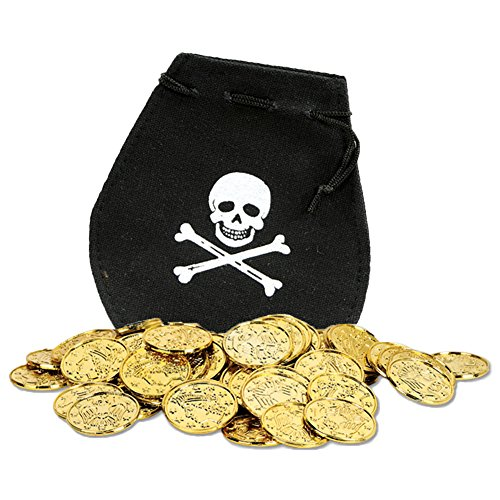 Mini Skull & Crossbones Pirate Booty Pouch with Gold Doubloon Coins