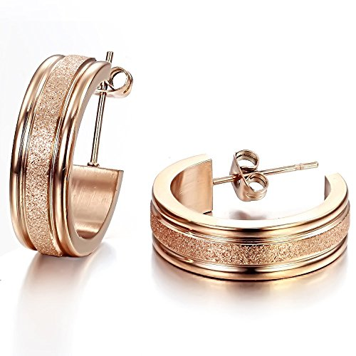 Happy Source Jewelry Frosted Women's Earrings Dull Polished Circle Titanium Steel Hoop Earrings - Rose Titanium