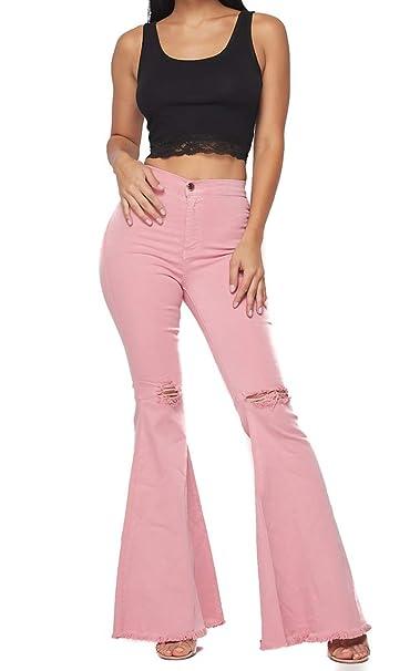 2019 best sell meet cheap prices Vibrant Women's Juniors Bell Bottom High Waist Fitted Denim Jeans