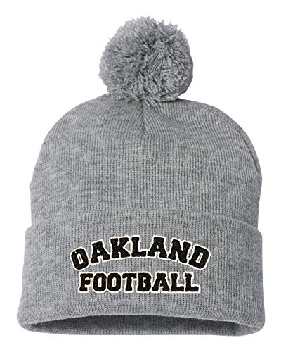 179bb667d6a Go All Out One Size Heather Grey Adult Oakland Football Embroidered Knit  Beanie Pom Cap