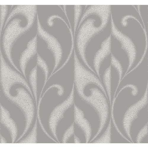 York Wallcoverings DN3702 Candice Olson Modern Luxe Paradox Wallpaper iced Pewter, Rich Cream