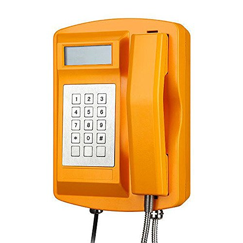 KNTECH KNSP-18 Analog Version Industrial Telephone Waterproof Shokproof Phone WIth LCD Dispaly / Call ID for Tunnel,Yellow