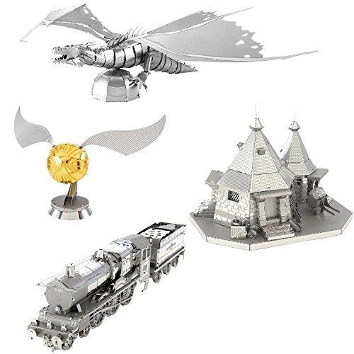 (Fascinations Metal Earth 3D Metal Model Kits - Harry Potter Set of 4 - Hogwarts Express Train, Hagrid's Hut, Golden Snitch, Gringotts Dragon)