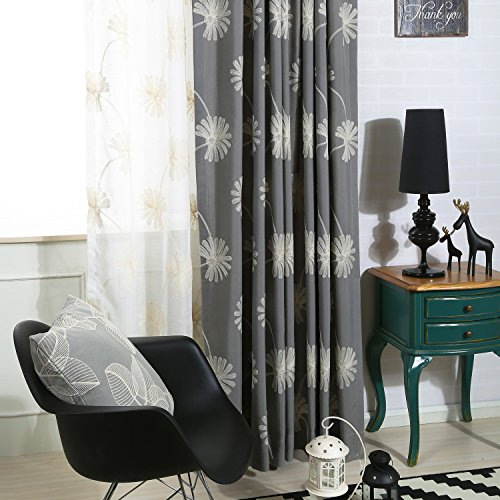 VOGOL(2 Panels Floral Patten Embroidered Elegant Faux Linen Grommet Curtains/Thermal Insulated 70% Blackout/Heavy Drapes for Bedroom/Living Room,Energy Efficient Window Treatment Panels,52 x 63 Inch