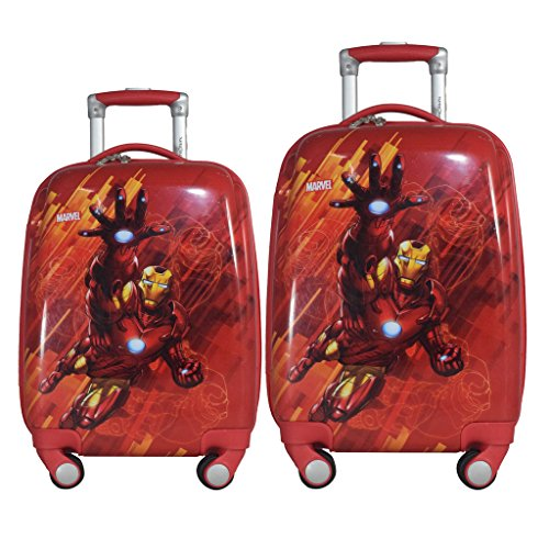Texas USA 18 and 22 Inches Ironman Printed Polycarbonate 4 Wheel Kids Trolley Bag  Red    Set of 2