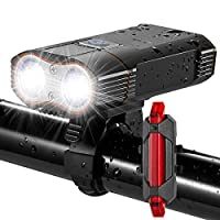DiKoMo BIKE LIGHT Front and Back 2400 Lumen 2 LED Cree BEST Mountain Bike Lights For Night Riding, Rechargeable Bicycle Headlight & FREE Rear Light For Road Bike Bycicle Accessories For Kids & Adult
