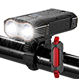 DiKoMo BIKE LIGHT Front and Back 2400 Lumen 2 LED Cree BEST Mountain Bike Lights For Night Riding, Rechargeable Bicycle Headlight & FREE Rear Light For Road Bike Bycicle Accessories For Kids & Adult For Sale