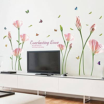 WMdecal Removable DIY Large Lily Flower Wall Vinyl Decals for TV Wall Easy to Apply Peel and Stick Wallpaper Art Stickers for Living Room