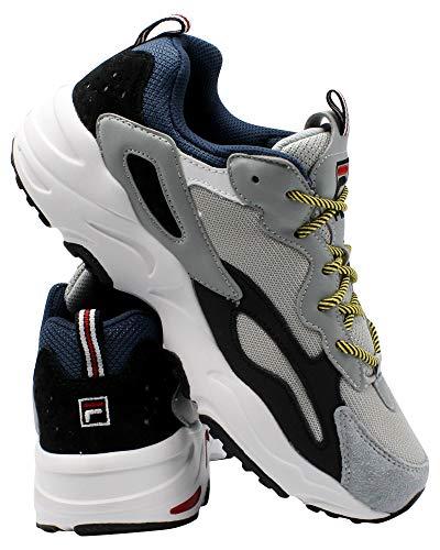 Fila Men's Ray Tracer Sneakers, Grey/Navy/Black, 9.5 M US