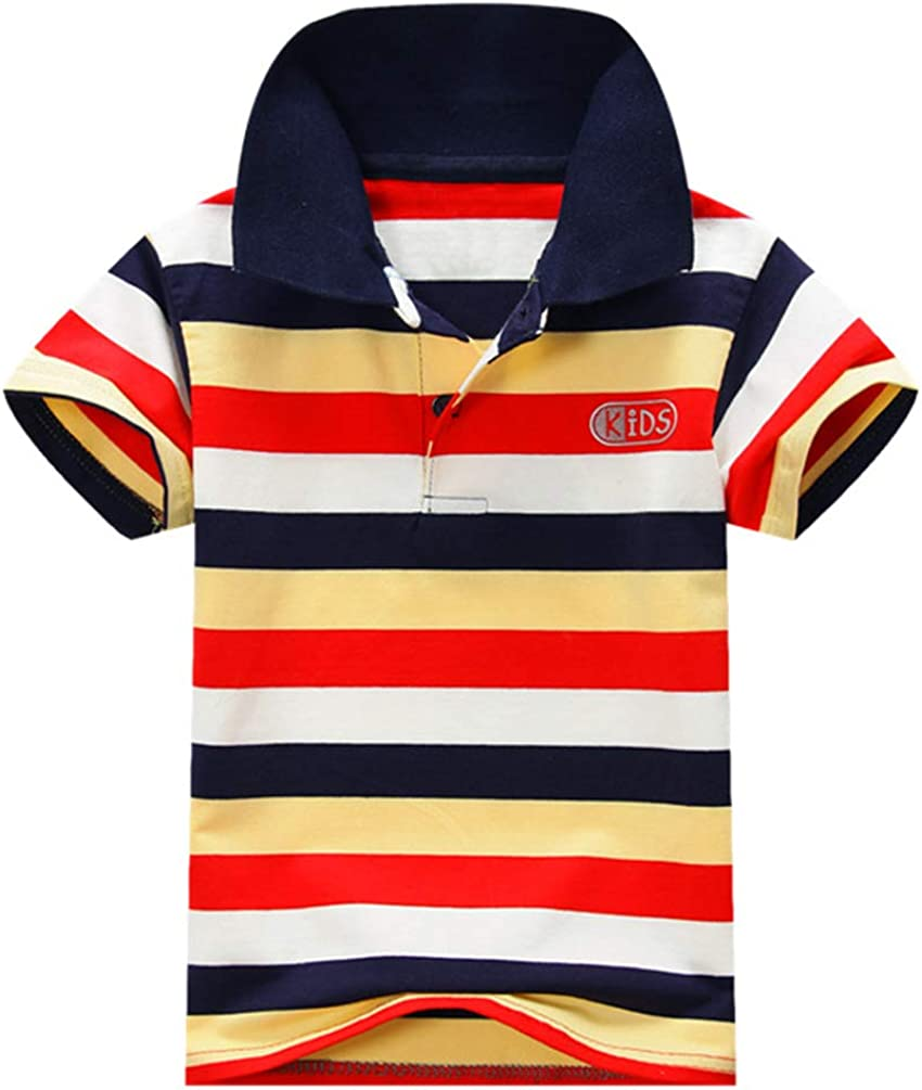 Ugitopi Boys Cotton Short Sleeve Classic Striped Polo Shirt Kids T-Shirt 1-7 Years